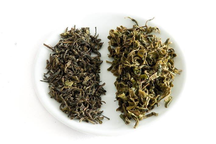 Zelený čaj z nepálského Ilamu - suchý a mokrý list