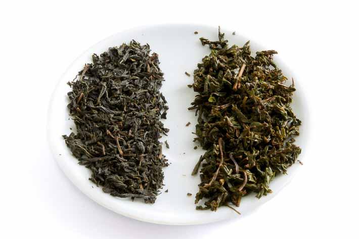 Černý čaj z Jakušimy - suchý a mokrý list